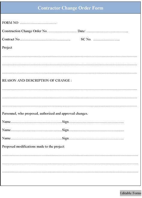 construction change order form construction change order form