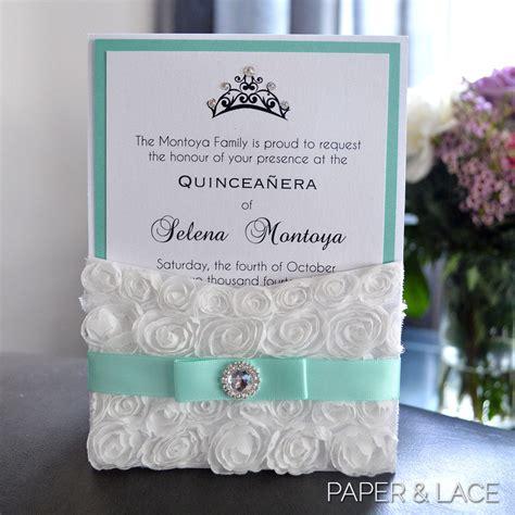 mexican invitations quinceanera lace invitaciones de rosette quince invitation white lace pocket invitation