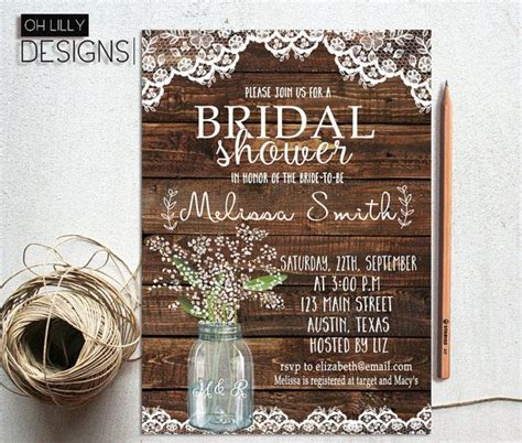 rustic bridal shower invitation printable baby s breath bridal shower jar bridal shower