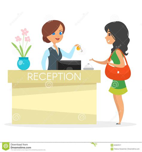 vector illustration of a stylish vector cartoon style illustration of hotel receptionist