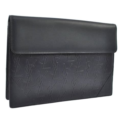 yves saint laurent ysl monogram leather long envelope