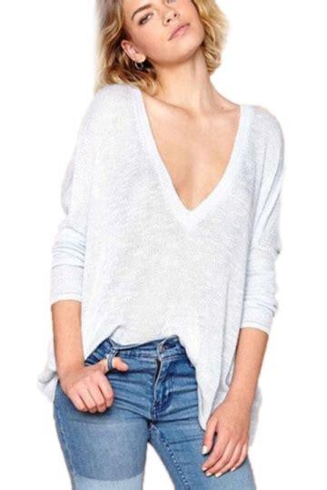 Blouse Atasan Tunik Import Gray Stripe V Neck Size L 306138 gray oversized womens vintage v neck pullover sweater pink