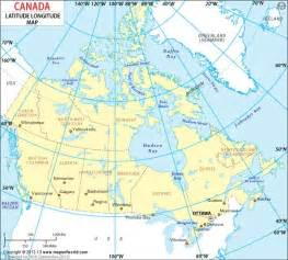 canada latitude map canada latitude and longitude map to