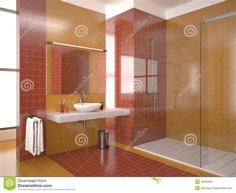 Löcher In Fliesen Verdecken by Modernes Badezimmer Mit Den Roten Und Orange Fliesen Stock