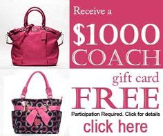 Coach Purse Gift Card - get free 1000 coach gift card free gift cards pinterest