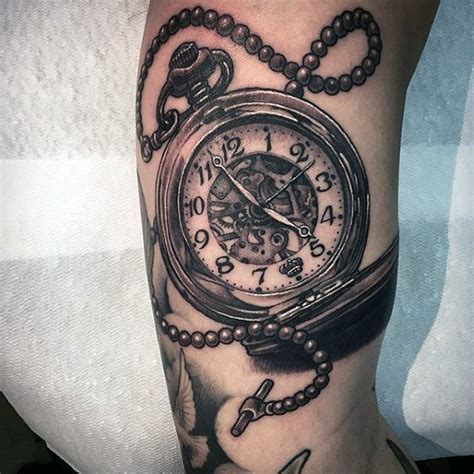 pocket watch tattoos for men striking pocket design on forearms jpg
