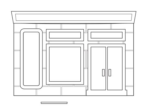 187 store fronts shop 14 black white line art coloring book
