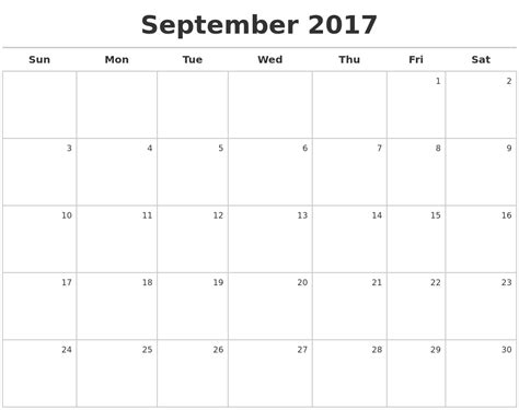 printable september 2017 calendar calendar 2017 calendar template 2016