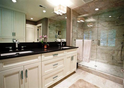 White Granite Bathroom by Black Countertop Bathroom Bathroom Design Ideas