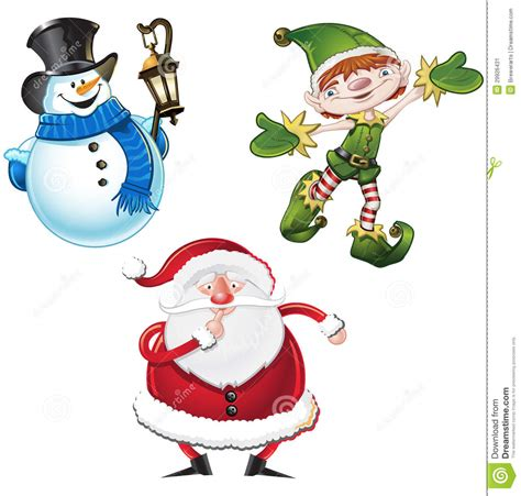christmas character set stock vector image of clause