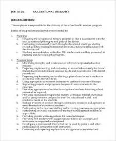 sle occupational therapist description 11 exles in word pdf