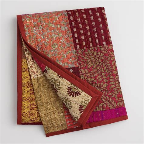 Patchwork Throws - spice patchwork sari throw world market