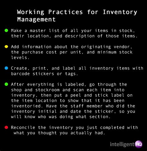 Tips For Creating An Inventory - working practices for inventory management