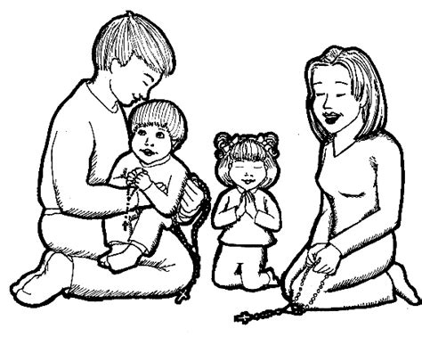coloring page of a family praying praying with the universal church family formation