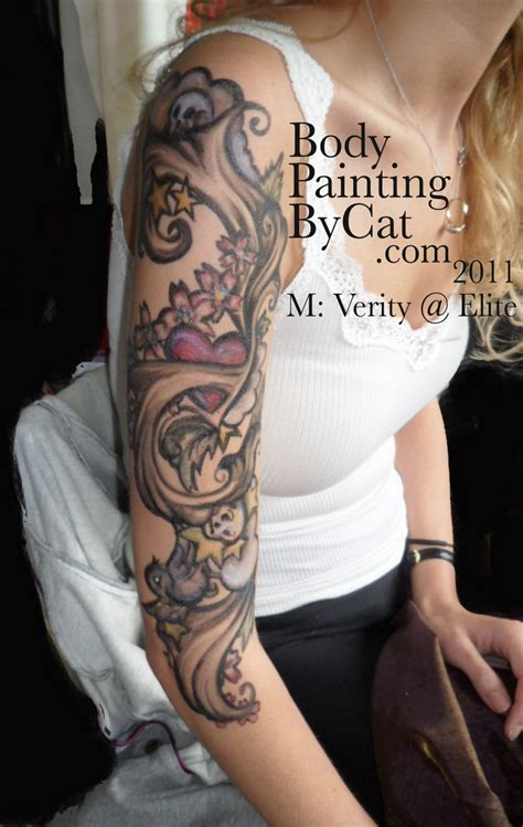 tattoo ink didn t take temporary arm sleeve tattoo painted ink body art body