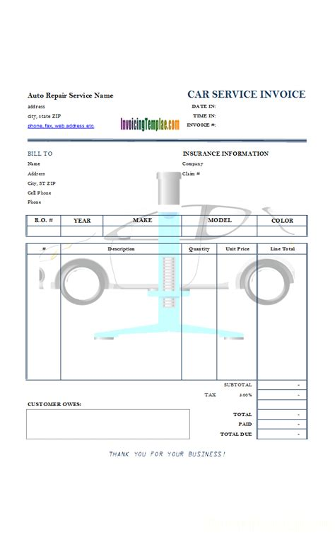 automotive templates auto repair invoice template