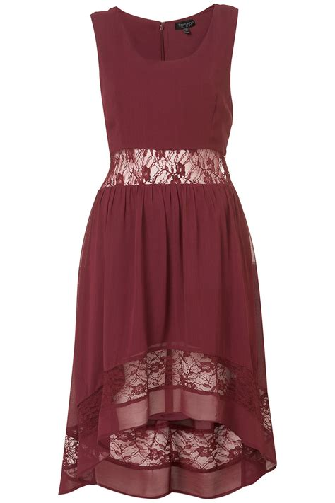 Hem Bordir topshop border lace dip hem dress in purple lyst