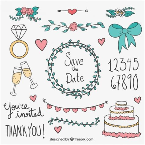 wedding design elements vector sketchy wedding elements vector free download