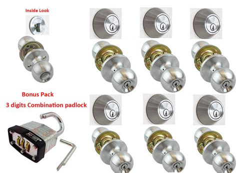 3 Door Locks Same Key by 6 Sets Of Nuset Entry Door Lock Sets Satin Chrome All Locks Keyed Alike Ebay