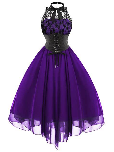 Cc Dress Black Purple cross back lace panel corset dress in purple 2xl sammydress