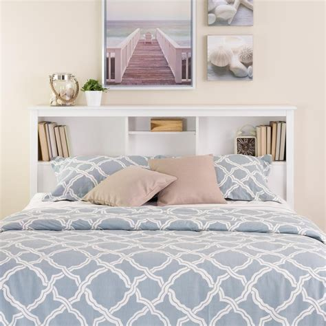 prepac white full queen bookcase headboard the home