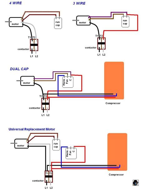 wiring diagram two capacitor motor a model hsbc f024sd after power outage last the compressor comes on but the