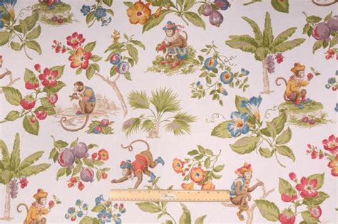 monkey upholstery fabric kaufmann cheeky monkey printed cotton drapery fabric in