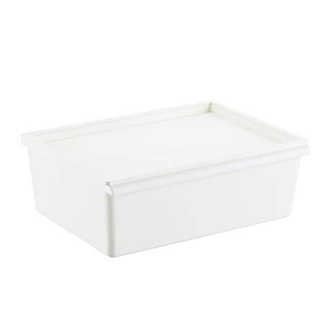 white plastic stacking bins  lids  container store