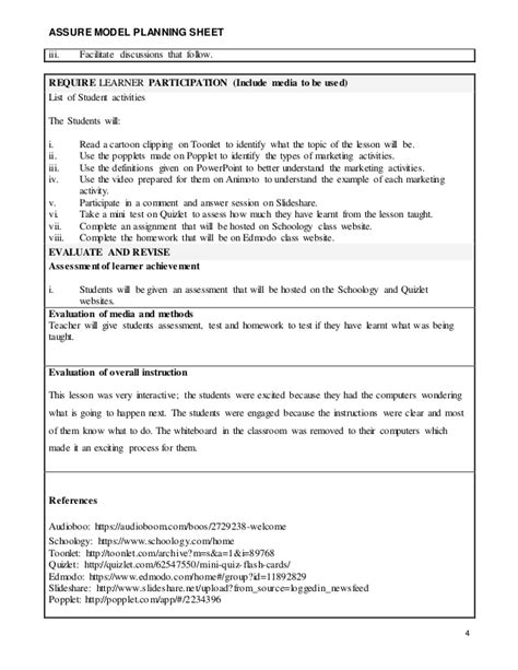 model lesson plan template assure lesson plan 21st century