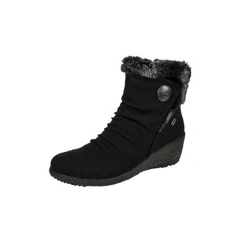 noomi y0363 01 black suede waterproof wedge ankle boot