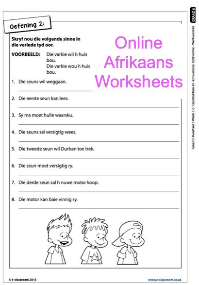 grade 6 afrikaans worksheets werkwoorde for more