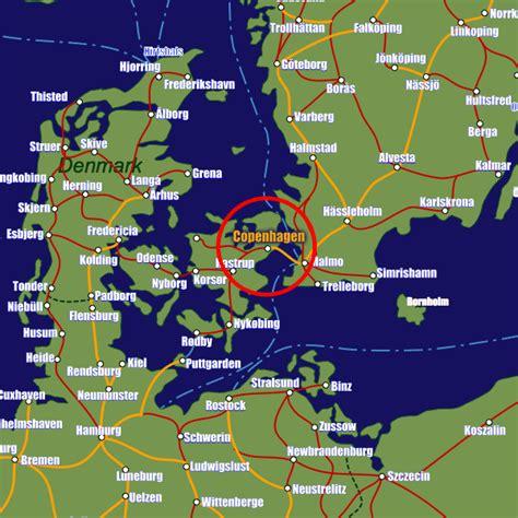 denmark on map copenhagen rail maps and stations from european rail guide