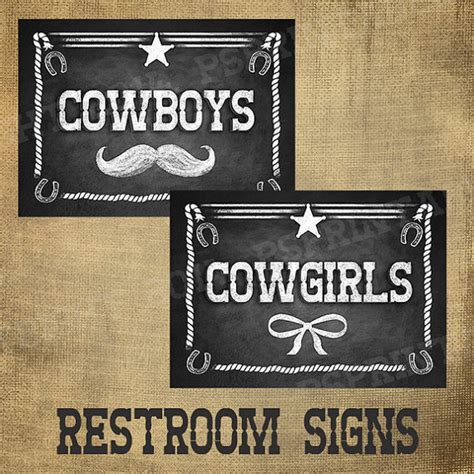 cowboy bathroom signs western themed bathroom or dressing room signs by psprintables