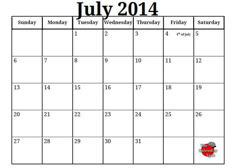july 2014 calendar template 2014 calendar printable free printable blank pdf july
