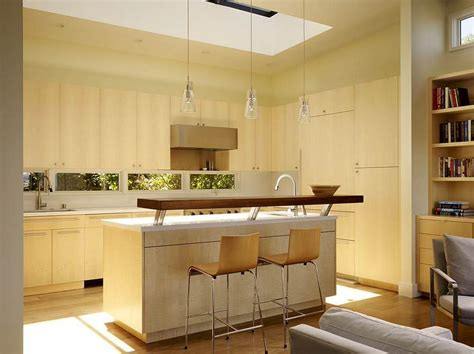 Kitchen Island Eating Bar by Skylight Over Kitchen And The Raised Breakfast Bar