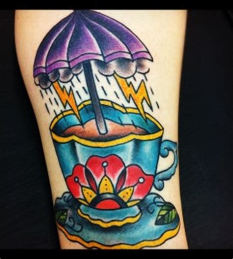 paper umbrella tattoo beautiful teacup and rose tattoo tattoomagz