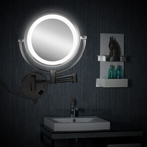 bathroom shaving mirror with light 7x magnification led lighted wall mount makeup mirror led