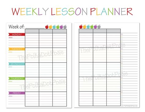 lesson plan template pages the polka dot posie new homeschool planners