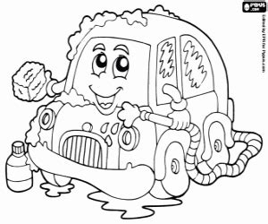 coloring page car wash vehicles on road coloring pages printable games