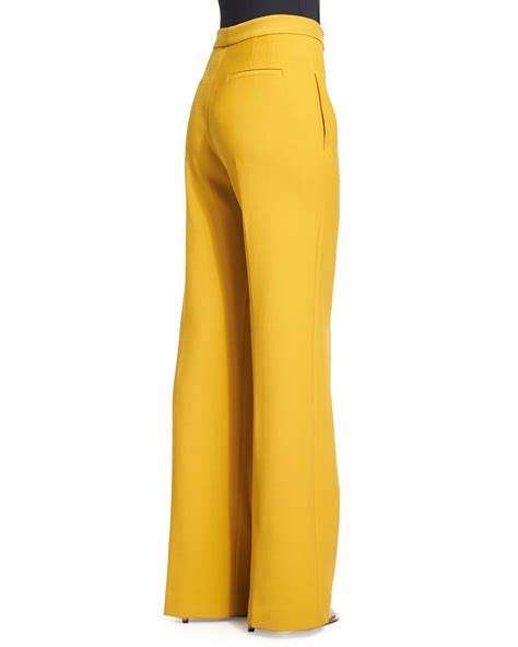 19213 Yellow Wide Leg Trousers lyst adam lippes high waist wide leg in yellow