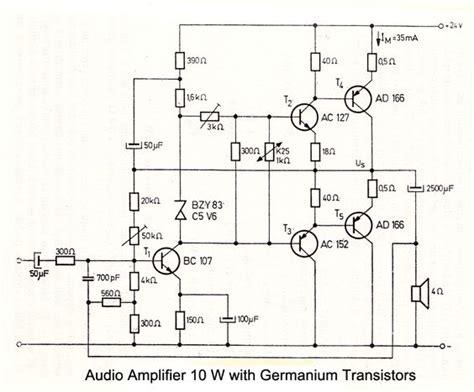 10 w audio lifier with germanium transistors electronic schematics audio