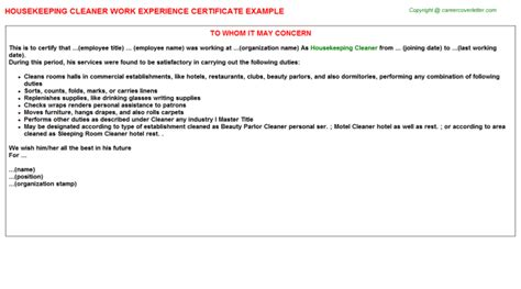 housekeeping work experience certificates
