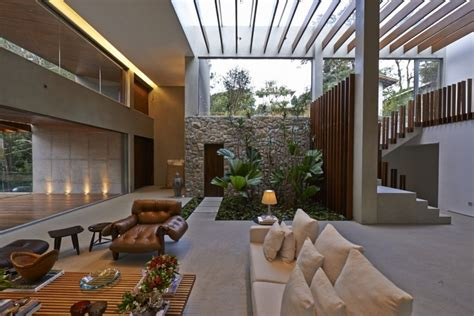 interior garden brazil house with luxe garden and outdoor living layout