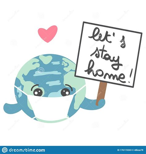 hand drawn lettering lets stay home text  cartoon
