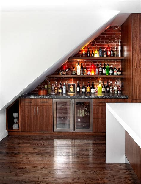 Home Bar Small Space Transform The Space The Stairs Into A Contemporary