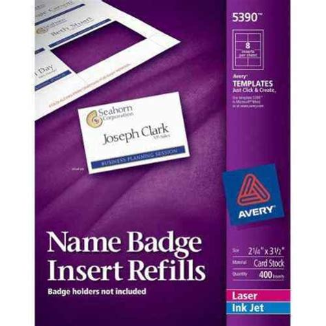 Avery Name Badge Insert Refills 2 1 4 Quot X 3 1 2 Quot 8up 50 Sheets 5390 Ebay Avery Badge Template