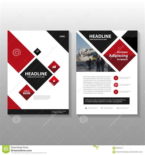 book cover design and layout abstract square red black leaflet brochure flyer template