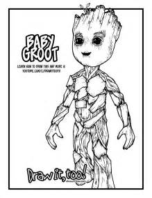 baby groot guardians galaxy vol 2 drawing tutorial draw