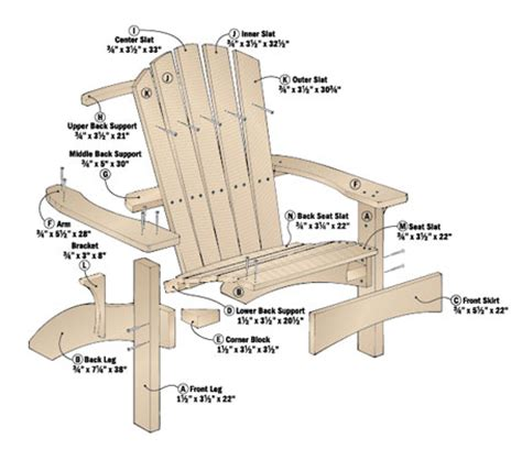 adirondack chair and ottoman bench plan
