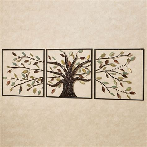 wall art ever changing brown tree metal wall art set